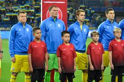 KHARKIV UKRAINA - September 02, 2017: Fotbollsspelare av Uen Arkivfoton