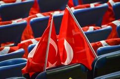 KHARKIV UKRAINA - September 02, 2017: Turkflaggor i det stan Fotografering för Bildbyråer