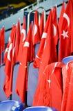KHARKIV UKRAINA - September 02, 2017: Turkflaggor i det stan Arkivfoton