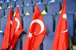 KHARKIV UKRAINA - September 02, 2017: Turkflaggor i det stan Royaltyfri Bild