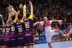 KHARKIV UKRAINA, WRZESIEŃ, - 22: EHF mężczyzna champions league dopasowanie między HC silnikiem Zaporozhye Nantes i HBC Obrazy Stock