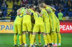 KHARKIV UKRAINA, Wrzesień, - 02, 2017: Ukraiński drużyna narodowa. pl Fotografia Royalty Free
