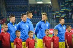 KHARKIV UKRAINA, Wrzesień, - 02, 2017: Gracze futbolu U Fotografia Stock