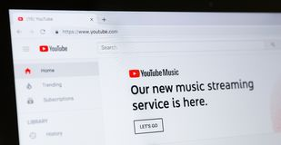 Youtube homepage with new music streaming service. Kharkiv, Ukraine - December 11, 2018: Youtube.com service menu. YouTube music website homepage. YouTube is royalty free stock photos