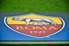 Free KHARKIV, UKRAINE - FEBRUARY 21, 2018: Official Logo AS Roma Closeup During UEFA Champions League Match Between Shakhtar Donetsk V Royalty Free Stock Images - 120742319