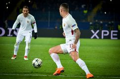 KHARKIV, UKRAINE - FEBRUARY 21, 2018: Aleksandar Kolarov during royalty free stock photos