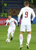 UEFA Champions League: Shakhtar Donetsk v Roma. KHARKIV, UKRAINE - FEBRUARY 21, 2018: Alessandro Florenzi of AS Roma controls a ball during UEFA Champions League Stock Photos