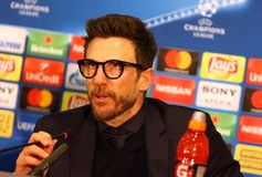 UEFA Champions League: Shakhtar Donetsk v Roma. KHARKIV, UKRAINE - FEBRUARY 21, 2018: AS Roma manager Eusebio Di Francesco gives a speech during press-conference stock photo