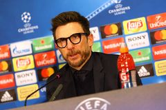 UEFA Champions League: Shakhtar Donetsk v Roma. KHARKIV, UKRAINE - FEBRUARY 21, 2018: AS Roma manager Eusebio Di Francesco gives a speech during press-conference stock images