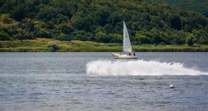KHARKIV, UKRAINE-JULY 21: Sailing yacht21, 2013 in Kharkiv, Royalty Free Stock Photo