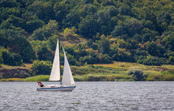 KHARKIV, UKRAINE-JULY 21: Sailing yacht21, 2013 in Kharkiv, Royalty Free Stock Images