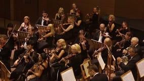 KHARKIV, UKRAINE, 29 JUNE 2017 : Concert of the symphony orchestra. violins stock video