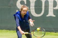 KHARKIV, UKRAINE - JUNE 07: Ukrainian tennis player Elina Svitolina gave open training session in Kharkiv on June 7, 2016. Royalty Free Stock Photos