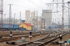 Railway tracks at the Kharkiv Passenger Railway Station. Kharkiv, Ukraine - March 25, 2012: Confusing railway tracks at the Kharkiv Passenger Railway Station Royalty Free Stock Photos