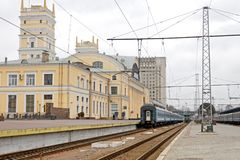 Railway tracks at the Kharkiv Passenger Railway Station Royalty Free Stock Images