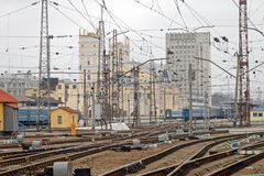 Railway tracks at the Kharkiv Passenger Railway Station stock photo