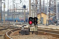 Railway tracks at the Kharkiv Passenger Railway Station. Kharkiv, Ukraine - March 25, 2012: Confusing railway tracks at the Kharkiv Passenger Railway Station Royalty Free Stock Images