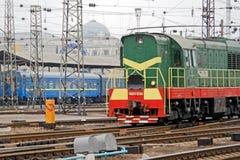 Locomotive of the Kharkiv Passenger Railway Station. Kharkiv, Ukraine - March 25, 2012: Locomotive of the Kharkiv Passenger Railway Station. Passenger train Stock Photos