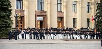 Police in the square in Kharkiv Royalty Free Stock Photography