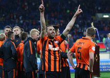 Cup of Ukraine Final 2017. Shakhtar v Dynamo Kyiv. KHARKIV, UKRAINE - MAY 17, 2017: Dario Srna of FC Shakhtar Donetsk reacts after winning the Cup of Ukraine stock images