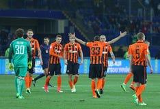 Cup of Ukraine Final 2017. Shakhtar v Dynamo Kyiv. KHARKIV, UKRAINE - MAY 17, 2017: FC Shakhtar Donetsk players react after winning the Cup of Ukraine 2017 stock image