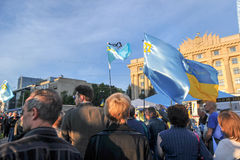 KHARKIV, UKRAINE - MAY 18: A meeting in memory of victims of the genocide of Crimean Tatars. Kharkov residents hold a demonstration in memory of the indigenous Royalty Free Stock Photography