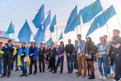 KHARKIV, UKRAINE - MAY 18: A meeting in memory of victims of the genocide of Crimean Tatars. Kharkov residents hold a demonstration in memory of the indigenous Stock Images
