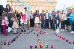 KHARKIV, UKRAINE - MAY 18: A meeting in memory of victims of the genocide of Crimean Tatars. Kharkov residents hold a demonstration in memory of the indigenous Stock Photos