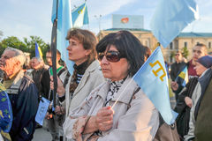 KHARKIV, UKRAINE - MAY 18: A meeting in memory of victims of the genocide of Crimean Tatars. Kharkov residents hold a demonstration in memory of the indigenous Stock Photography