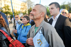KHARKIV, UKRAINE - MAY 18: A meeting in memory of victims of the genocide of Crimean Tatars on the occasion of the 72nd anniversar. Kharkov residents hold a Stock Photo