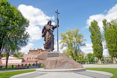 Monument to Holy Apostle Andrew the First-Called in Kharkiv, Ukraine. Kharkiv, Ukraine - May 3, 2016: The monument to Holy Apostle Andrew the First-Called in the royalty free stock photos