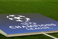 UEFA Champions League: Shakhtar Donetsk v Feyenoord. KHARKIV, UKRAINE - NOVEMBER 1, 2017: Official UEFA Champions League logo on the decoration board during UEFA royalty free stock photography