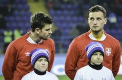 Kharkiv, UKRAINE - November 15, 2016: Predrag Rajkovic (R )durin. G the friendly match national football team of Ukraine vs national team of Serbia, Metalist stock photo