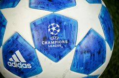 KHARKIV, UKRAINE - October 23, 2018: Official Champions League B. All Close Up during the UEFA Champions League match between Shakhtar Donetsk vs Manchester City stock photography