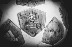 KHARKIV, UKRAINE - October 23, 2018: Official Champions League B. All Close Up during the UEFA Champions League match between Shakhtar Donetsk vs Manchester City stock photo