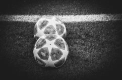 KHARKIV, UKRAINE - October 23, 2018: Official Champions League Ball Close Up during the UEFA Champions League match between. Shakhtar Donetsk vs Manchester City royalty free stock images