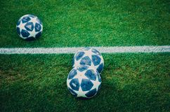 KHARKIV, UKRAINE - October 23, 2018: Official Champions League Ball Close Up during the UEFA Champions League match between. Shakhtar Donetsk vs Manchester City stock photography
