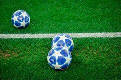 KHARKIV, UKRAINE - October 23, 2018: Official Champions League Ball Close Up during the UEFA Champions League match between. Shakhtar Donetsk vs Manchester City stock photos