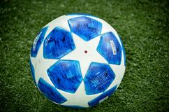 KHARKIV, UKRAINE - October 23, 2018: Official Champions League Ball Close Up during the UEFA Champions League match between. Shakhtar Donetsk vs Manchester City royalty free stock photos