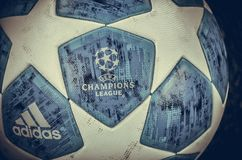 KHARKIV, UKRAINE - October 23, 2018: Official Champions League Ball Close Up during the UEFA Champions League match between. Shakhtar Donetsk vs Manchester City stock photo