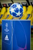 KHARKIV, UKRAINE - October 23, 2018: Official Champions League Ball Close Up during the UEFA Champions League match between. Shakhtar Donetsk vs Manchester City stock image