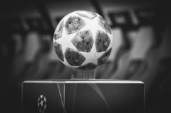 KHARKIV, UKRAINE - October 23, 2018: Official Champions League Ball Close Up during the UEFA Champions League match between. Shakhtar Donetsk vs Manchester City royalty free stock photography