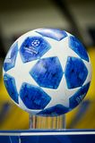 KHARKIV, UKRAINE - October 23, 2018: Official Champions League Ball Close Up during the UEFA Champions League match between. Shakhtar Donetsk vs Manchester City stock images
