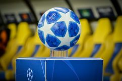 KHARKIV, UKRAINE - October 23, 2018: Official Champions League Ball Close Up during the UEFA Champions League match between. Shakhtar Donetsk vs Manchester City royalty free stock photo