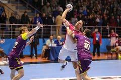 KHARKIV, UKRAINE - SEPTEMBER 22: EHF Men's Champions League match between HC Motor Zaporozhye and HBC Nantes. KHARKIV, UKRAINE - SEPTEMBER 22: Barys Pukhkouski Royalty Free Stock Image