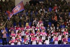 KHARKIV, UKRAINE - SEPTEMBER 22: EHF Men's Champions League match between HC Motor Zaporozhye and HBC Nantes. KHARKIV, UKRAINE - SEPTEMBER 22: HC Motor fans Royalty Free Stock Photography