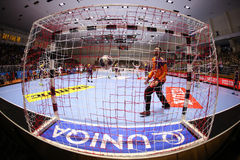 KHARKIV, UKRAINE - SEPTEMBER 22: EHF Men's Champions League match between HC Motor Zaporozhye and HBC Nantes Royalty Free Stock Photography