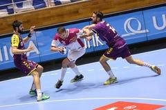 KHARKIV, UKRAINE - SEPTEMBER 22: EHF Men's Champions League match between HC Motor Zaporozhye and HBC Nantes. KHARKIV, UKRAINE - SEPTEMBER 22: Gleb Kalarash runs Stock Photos