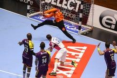 KHARKIV, UKRAINE - SEPTEMBER 22: EHF Men's Champions League match between HC Motor Zaporozhye and HBC Nantes. KHARKIV, UKRAINE - SEPTEMBER 22: Gleb Kalarash Royalty Free Stock Images