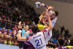 KHARKIV, UKRAINE - SEPTEMBER 22: EHF Men's Champions League match between HC Motor Zaporozhye and HBC Nantes. KHARKIV, UKRAINE - SEPTEMBER 22: Stanislav Zhukov Royalty Free Stock Image